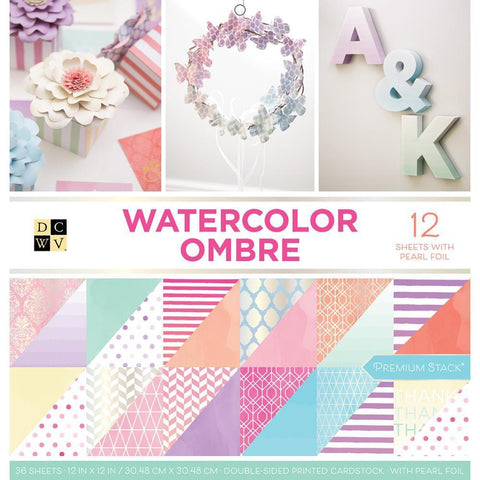 DCWV 12x12 inch  D/S Paper Stack - Watercolor Ombre, 12 with Pearl Foil 36 pk