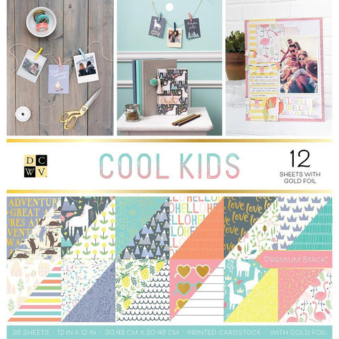 DCWV D/S Cardstock Stack 12x12 inch 36 pack - Cool Kids, 12 with Gold Foil