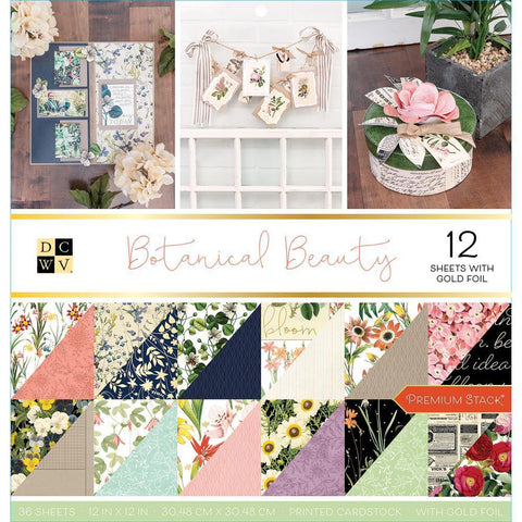 DCWV D/S Cardstock Stack 12x12 inch 36 pack-  Botanical Beauty - 12 with Gold Foil