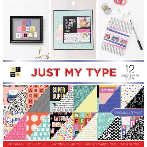 DCWV D/S Cardstock Stack 12x12 inch 36 pack - Just My Type, 12 with Gloss