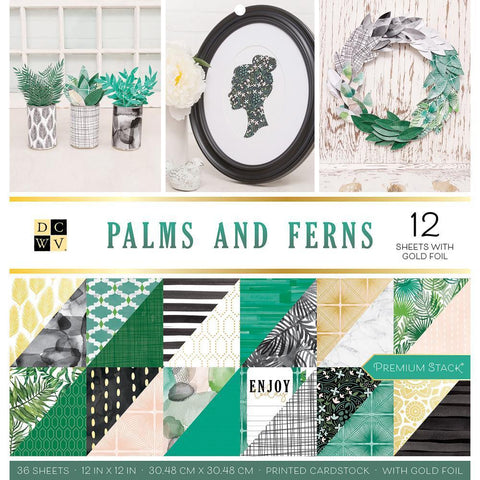 DCWV D/S Cardstock Stack 12x12 inch 36 pack - Palms & Ferns, 12 with Gold Foil
