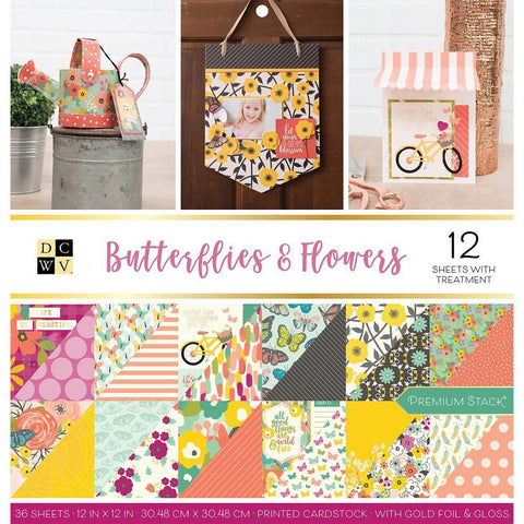 DCWV D/S Cardstock Stack 12x12 inch 36 pack - Butterflies & Flowers, 12 with Gold Foil