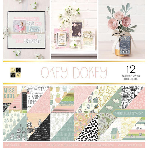 DCWV D/S Cardstock Stack 12x12 inch 36 pack - Okey Dokey, 12 with Gold Foil