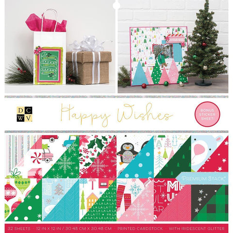 DCWV D/S Cardstock Stack 12x12 inch 32 pack - Happy Wishes