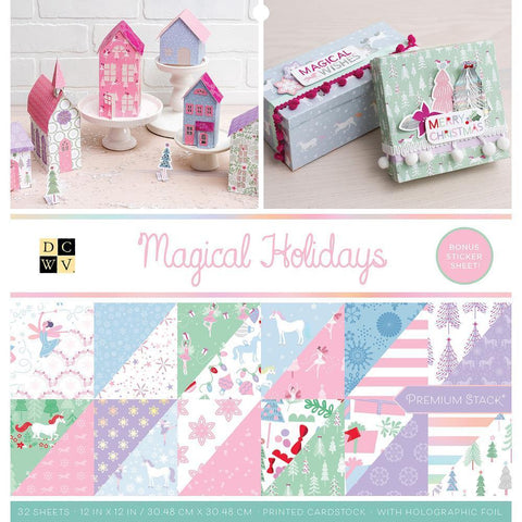 DCWV D/S Cardstock Stack 12x12 inch 32 pack - Magical Christmas