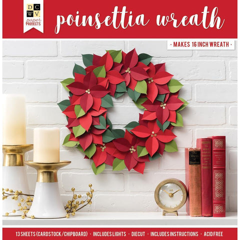 DCWV Paper Projects - Poinsettia Wreath - Makes 16 inch Wreath