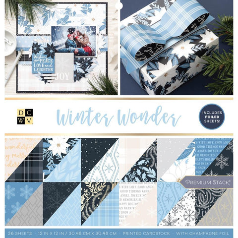 DCWV D/Sided Cardstock Stack 12x12 inch 36 pack - Winter Wonderland with Foil Accents