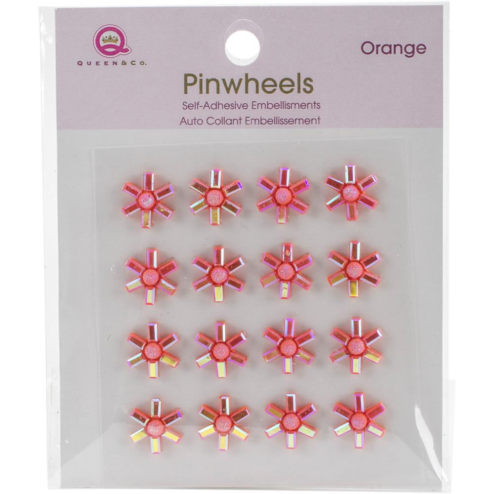 Queen & Co Pinwheels Self-Adhesive Embellishments 16 pack -Orange