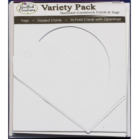 Quilled Creations - Cards & Envelopes 4x5.25 inch 6 pack - White Trifold Variety-Heart,Oval,Circle