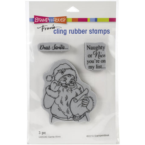 Stampendous - Cling Stamp - Santa Wink - 4.5x5.5 inch