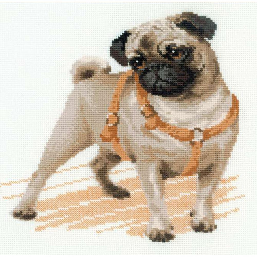 RIOLIS Counted Cross Stitch Kit 9.75inch X9.75inch Pug Dog (14 Count)