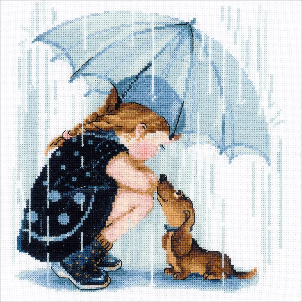 RIOLIS Counted Cross Stitch Kit 9.75inch X9.75inch Under My Umbrella (14 Count)