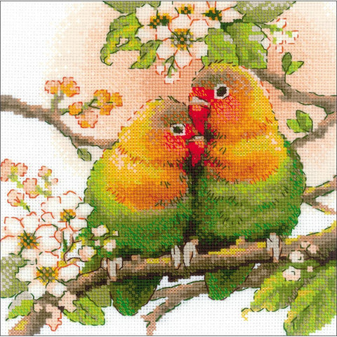 RIOLIS-Counted Cross Stitch Kit 7.75 inch X7.75 inch - Lovebirds (14 Count)
