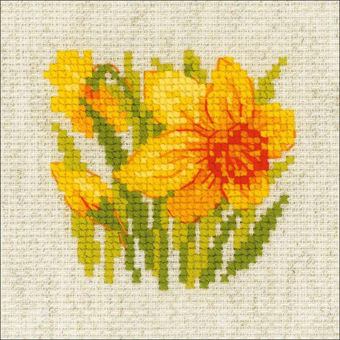 RIOLIS Counted Cross Stitch Kit 5in x 5in Yellow Narcisus (10 Count)
