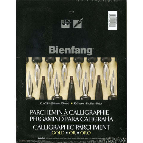 Bienfang Calligraphic Parchment Paper Pad 8.5x11 inch - Gold 50 Sheets