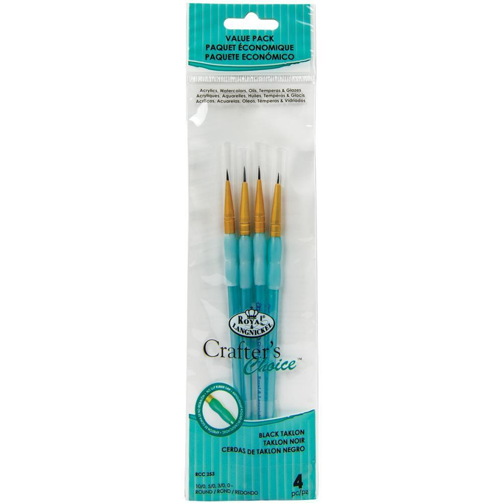 Crafters Choice Black Taklon Round Brush Set 4 pack