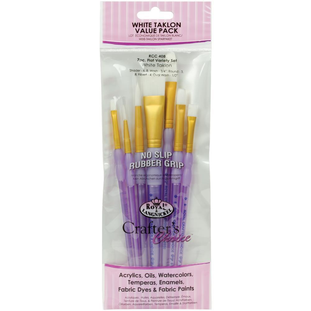 Crafters Choice White Taklon Flat Brush Variety Set 7 pack
