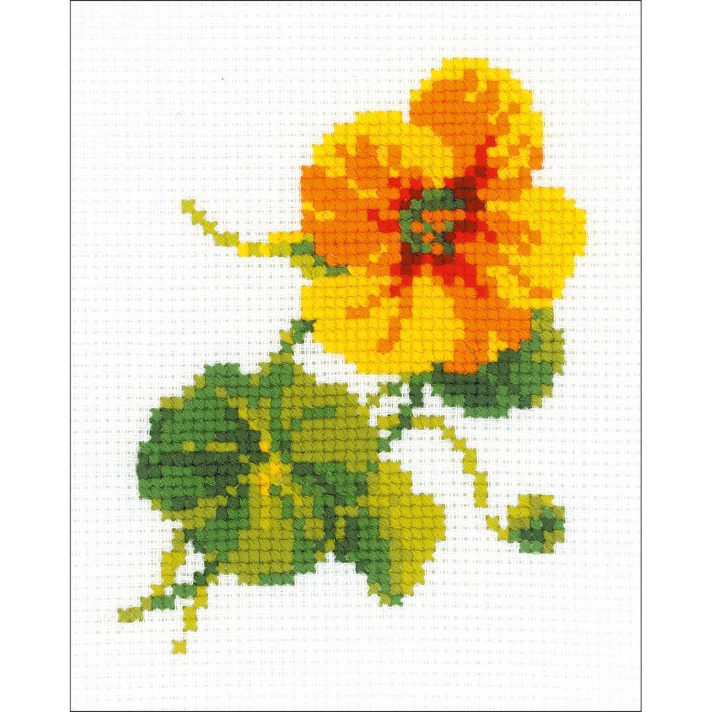 RIOLIS Counted Cross Stitch Kit 5x6.25inch - Nasturtium (10 Count)