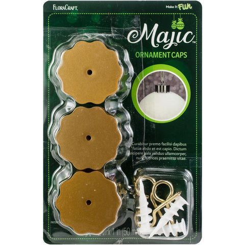 Majic Ornament Caps 2x1 inch 3 pack - Gold