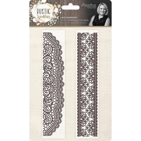 Crafters Companion - Rustic Wedding Embossing Folder Borders 1.5 x7 inch 2 pack - Lace