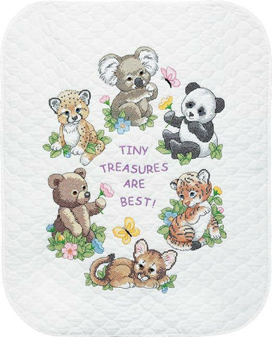 Dimensions/Baby Hugs Quilt Stamped Cross Stitch Kit 34x43 inch - Baby Animals