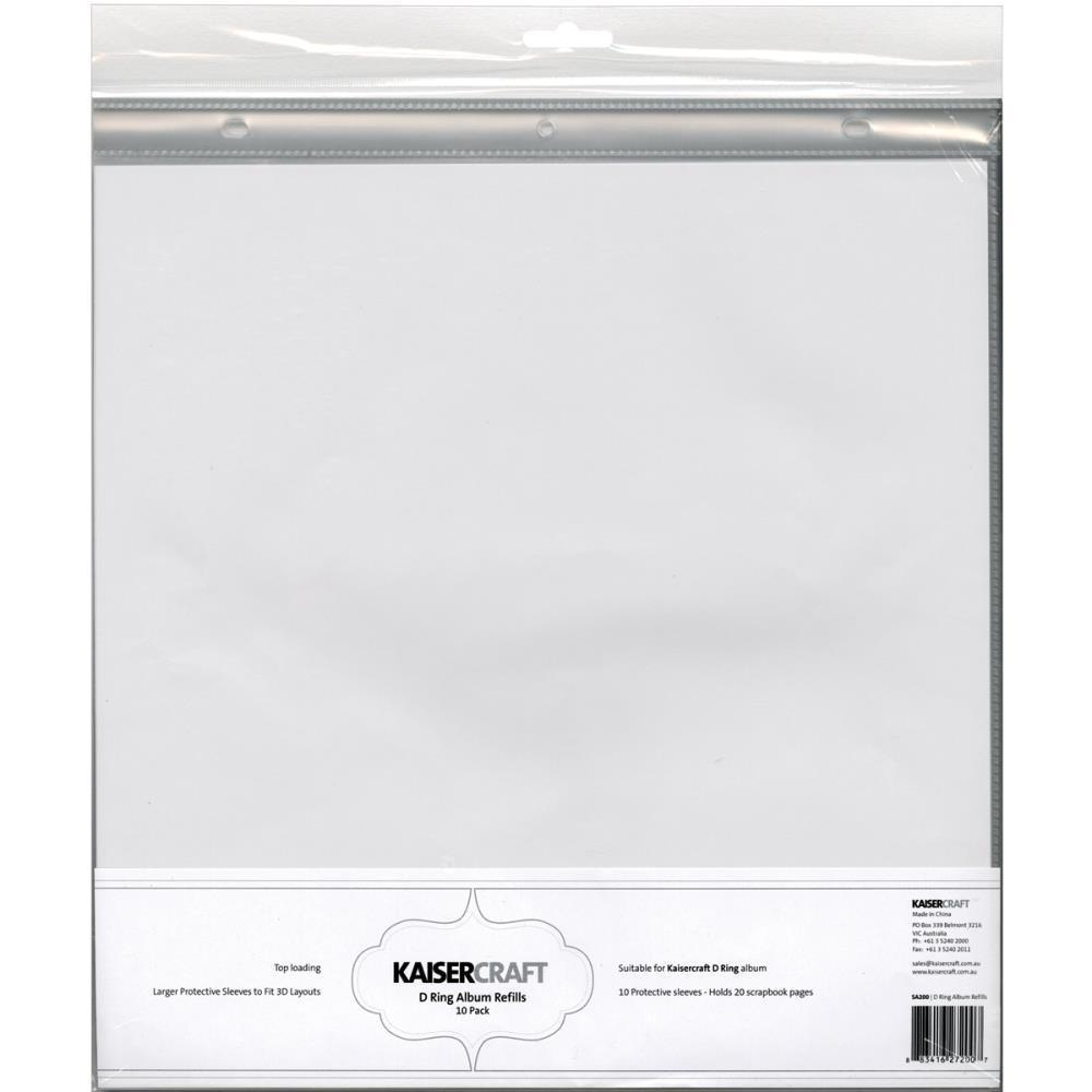 Kaisercraft D Ring Album Refills - D-Ring Album Page Protectors 12X12 10 pack (1) 12X12 Pocket