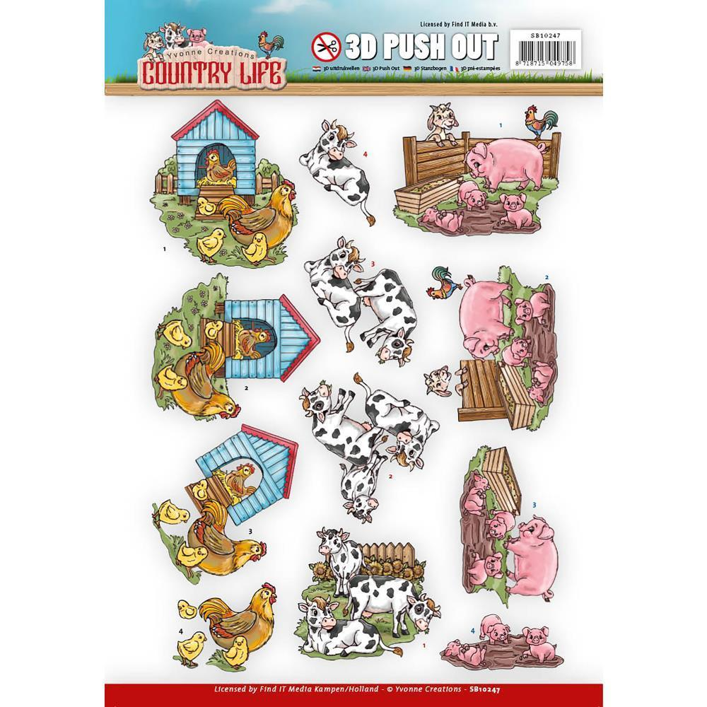 Find It Yvonne Creations Country Life Punchout Sheet - Farm Animals