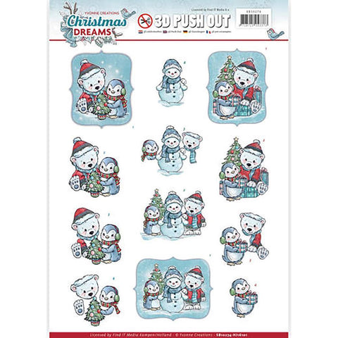 Find It Yvonne Creations Christmas Dreams Punchout Sheet - Christmas Bears