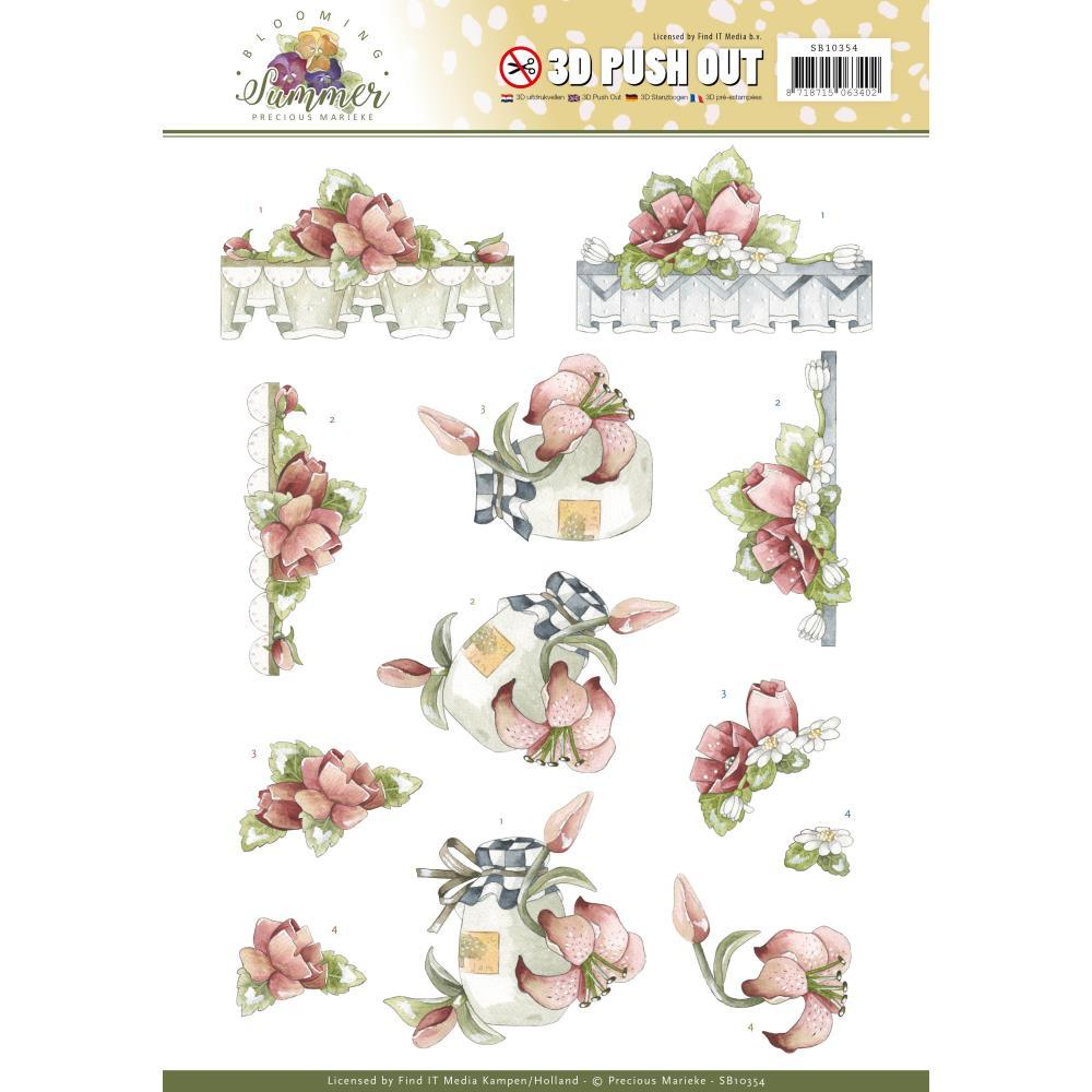 Find It Trading Precious Marieke Punchout Sheet - Red Summer Flowers, Blooming Summer