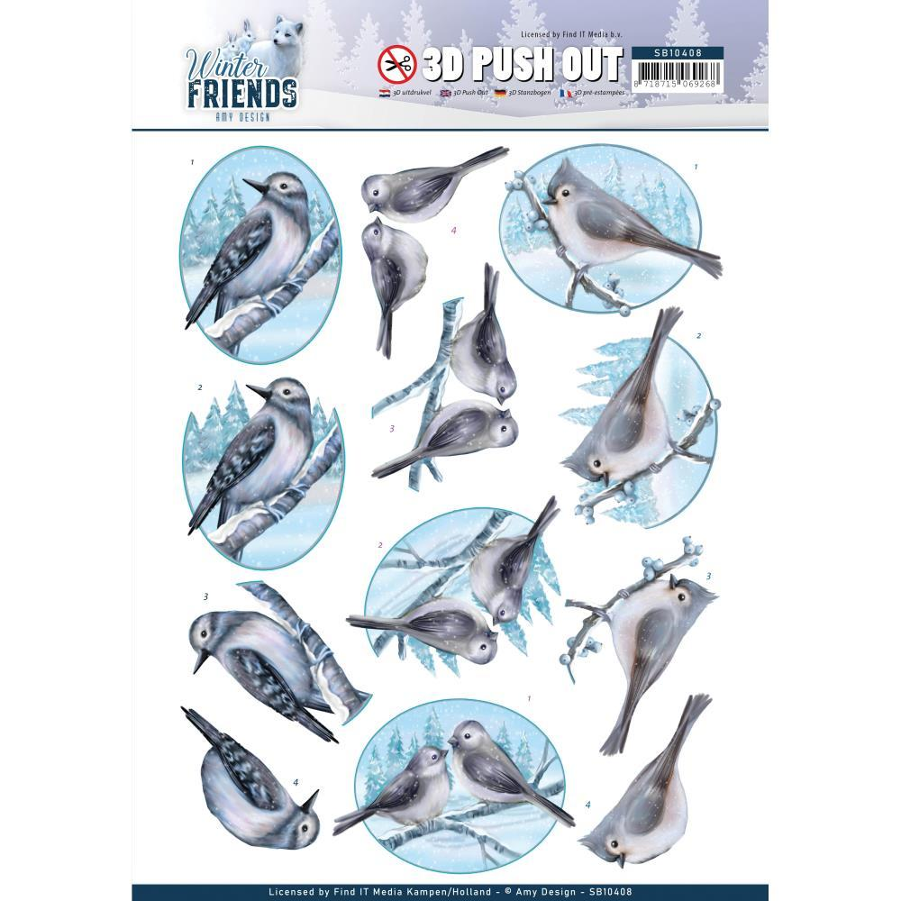 Find It Trading Amy Design Punchout Sheet - Sparkling Birds, Winter Friends