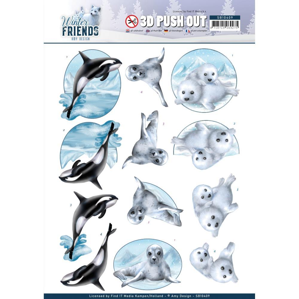 Find It Trading Amy Design Punchout Sheet - Sparkling Sealife, Winter Friends