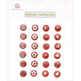Queen & Co - Metallic Silver Self-Adhesive Nailheads 24 Pack Red