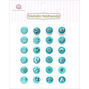 Queen & Co - Metallic Silver Self-Adhesive Nailheads 24 Pack Blue