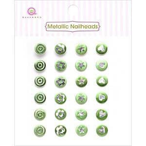 Queen & Co - Metallic Silver Self-Adhesive Nailheads 24 Pack Green