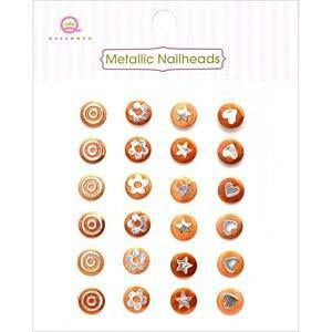 Queen & Co - Metallic Silver Self-Adhesive Nailheads 24 Pack Orange