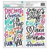American Crafts - Vicki Boutin Colour Kaleidoscope Thickers 5.5inch X11inch 89 pack Colourful Phrase/Puffy