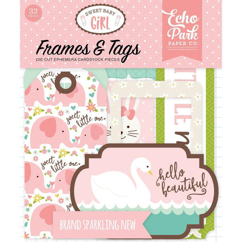 Echo Park Sweet Baby Girl Cardstock Frames/Tags 33 pack