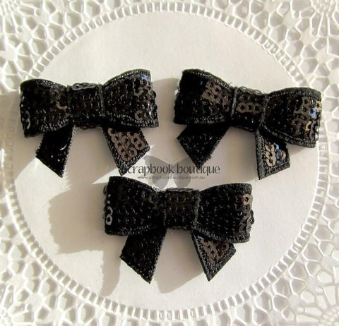Boutique Crafts - Sequin Bows - Black - 4Cm (3 Pack)