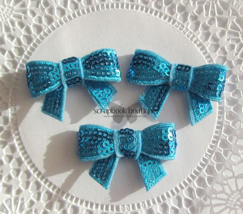 Boutique Crafts - Sequin Bows - Blue - 4Cm (3 Pack)