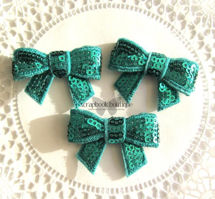 Boutique Crafts - Sequin Bows - Turquoise - 4Cm (3 Pack)