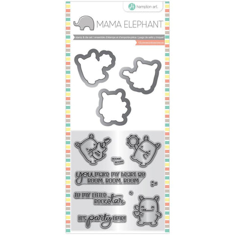Mama Elephant Stamp & Die Set 4 inch X8 inch Rock Monster