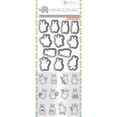 Mama Elephant Clear Stamp and Die Set 4.125inch X10.5inch Mini Bunny Agenda