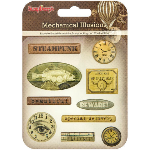 ScrapBerrys Mechanical Illusions Epoxy Stickers