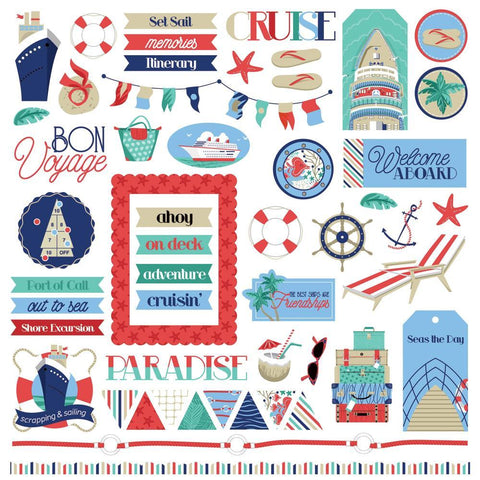 PhotoPlay - Set Sail Stickers 12in x 12in - Elements