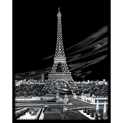 Royal Brush - Silver Foil Engraving Art Kit 8 inch X10 inch - Eiffel Tower