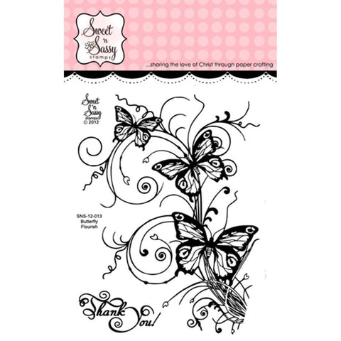 Sweet Ft N Sassy Clear Stamps 3 Inch X4 Inch Butterfly Flourish