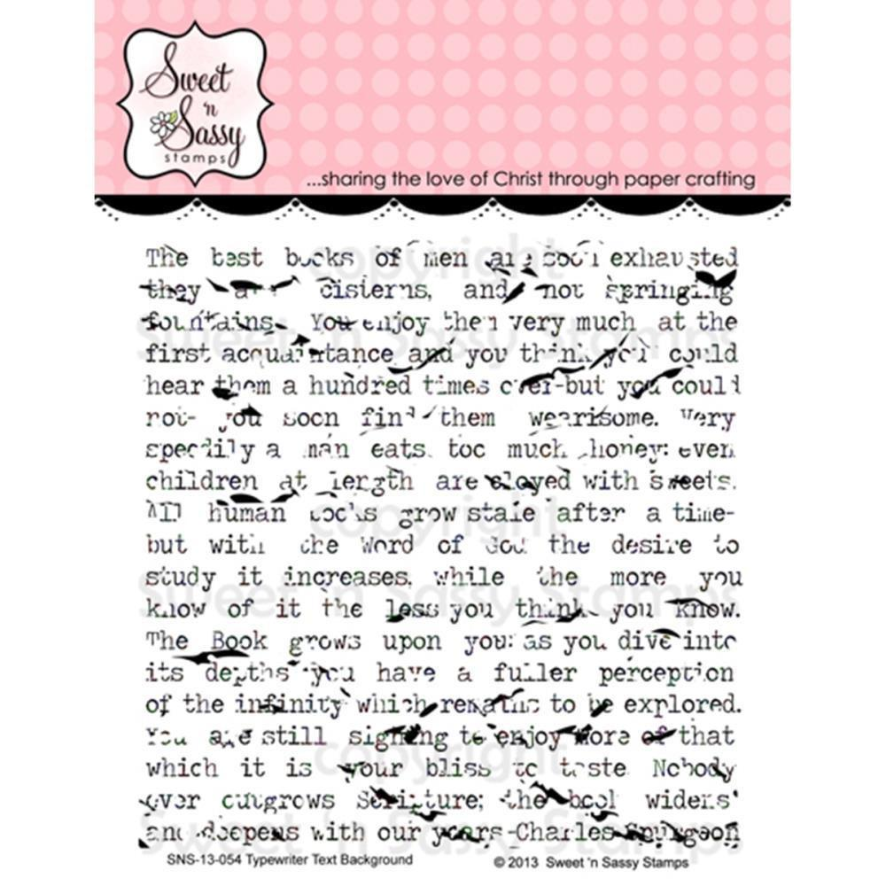 Sweet n Sassy Clear Stamps 4 inch X4 inch Typewriter Text Background
