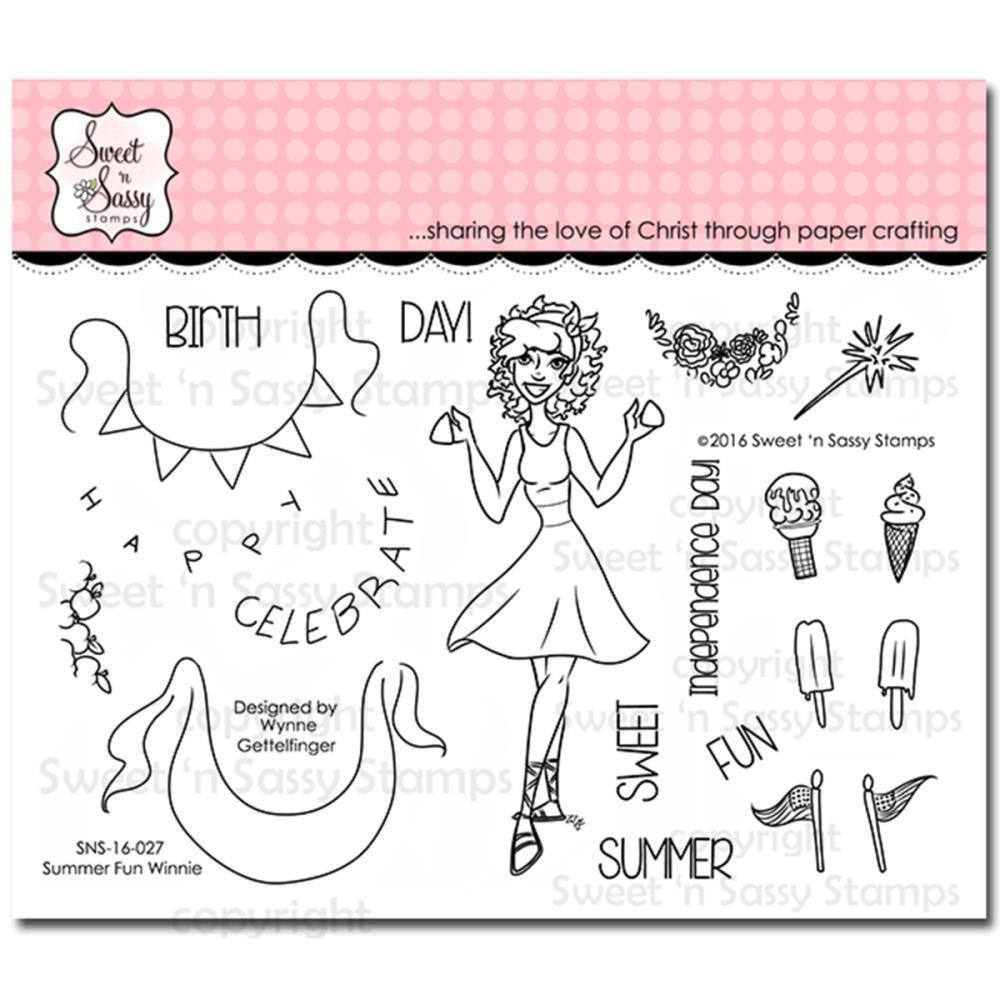 Sweet n Sassy Clear Stamps 4 inch X6 inch Summer Fun Winnie
