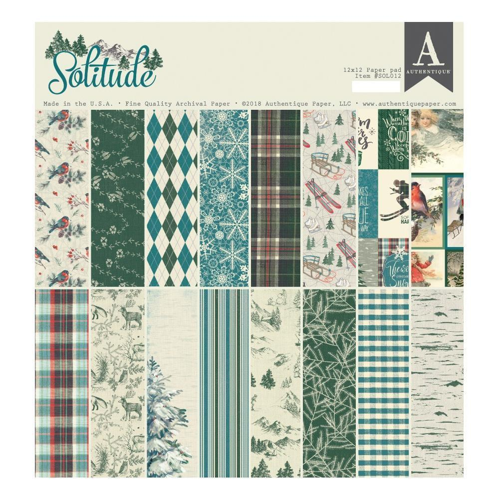 Authentique D/S Cardstock Pad 12x12 inch  24 pack - Solitude