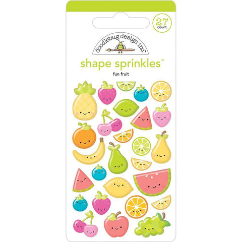 Doodlebug Sprinkles Adhesive Glossy Enamel Shapes 27 pack - Fun Fruit